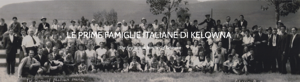 Image of Kelowna Italian families during their 1st annual Italian picnic. The image was taken from the Kelowna Italian Club website.